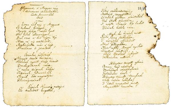 A Himnusz eredeti kézirata